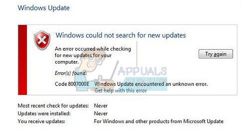 So beheben Sie den Windows Update-Fehler 8007000E