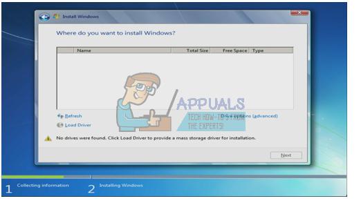 Fix: Im Windows 7 Installer wurden keine Festplatten gefunden