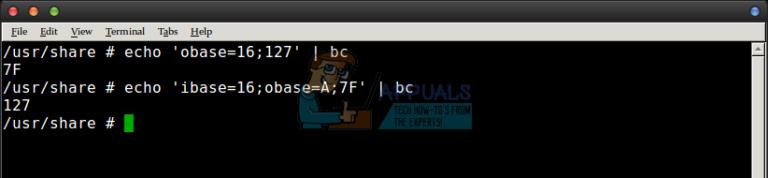 Verwendung von bc als Hex-Rechner