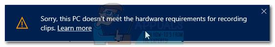 Fix: Der PC erfüllt nicht die Hardwareanforderungen für den Game DVR
