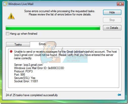 Fix: Windows Live Mail-Fehler 0x800ccc0d