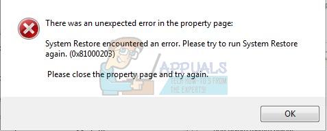 Fix: Systemwiederherstellungsfehler mit Fehler 0x81000203