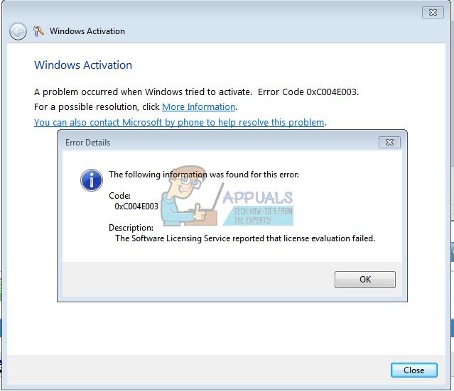 Fix: Windows 7-Aktivierungsfehlercode 0xc004e003