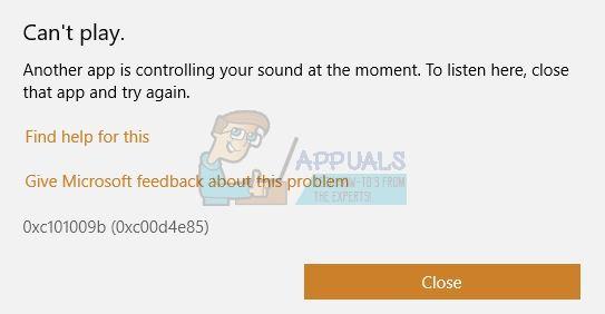 Fix: Eine andere App steuert Ihren Sound 0xc00d4e85
