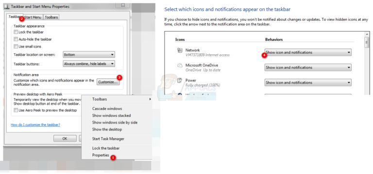 Anzeigen des Netzwerksymbols in der Taskleiste unter Windows 7, 8 oder 10