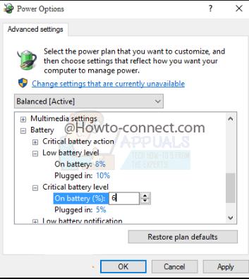 So ändern Sie den Prozentsatz kritischer Akkus unter Windows 10