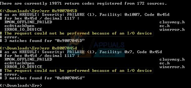 So beheben Sie den Geräte-E / A-Fehler 0x8007045d oder 0x9007045d