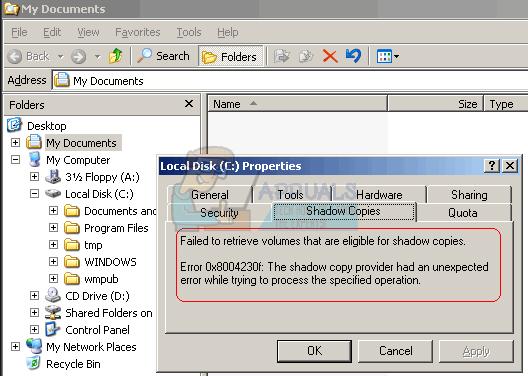 Fix: Shadow Copy Error 0X8004230F