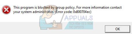 Fix: Windows Defender durch Gruppenrichtlinienfehler 0x800704ec blockiert