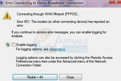 Fix: Verbindung mit Fehler 651 fehlgeschlagen