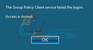 Fix: Der Gruppenrichtlinien-Clientdienst hat die Anmeldung fehlgeschlagen
