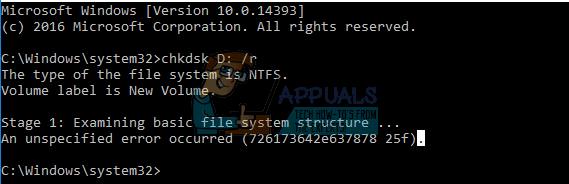 Fix: chkdsk ein nicht spezifizierter Fehler ist aufgetreten