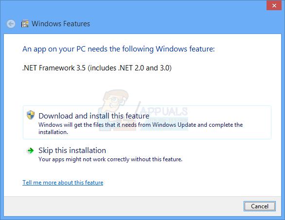 Fix: Die App auf Ihrem PC benötigt .NET Framework 3.5