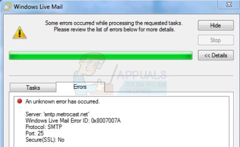 UPDATE: In Windows Live Mail ist ein unbekannter Fehler aufgetreten