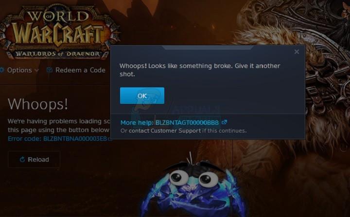 So beheben Sie den Fehler World of Warcraft-Fehler blzbntagt00000bb8