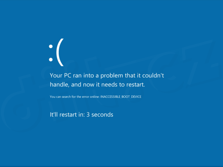 INACCESSIBLE_BOOT_DEVICE Blue Screen unter Windows 7, 8 oder 10