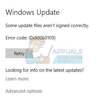 Fix: Einige Update-Dateien sind unter Windows 10 nicht korrekt signiert