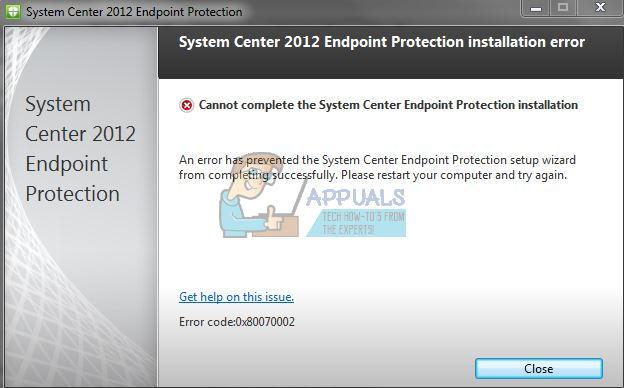 Fix: System Center 2012 Endpoint Installer-Fehler 0x80070002