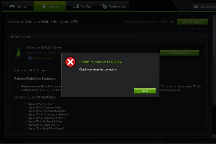 Fix: Es kann keine Verbindung zu Nvidia hergestellt werden