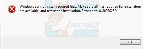 UPDATE: Windows kann erforderliche Dateien 0x8007025D nicht installieren