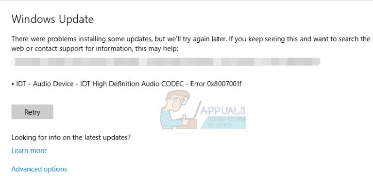 So beheben Sie IDT High Definition Audio CODEC-Probleme unter Windows 10 (0x8007001f)