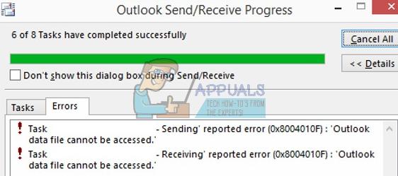 """So beheben Sie den Outlook 2010/2013-Fehler """"Senden des gemeldeten"""" 0x8004010F"""