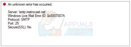 UPDATE: Windows Live Mail-Fehler 0x8007007A beim Senden von E-Mails