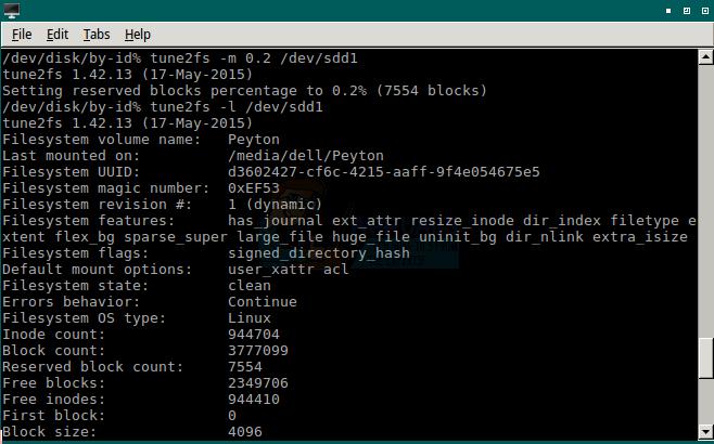 So reduzieren Sie die Anzahl der reservierten Blöcke auf ext4-formatierten Laufwerken