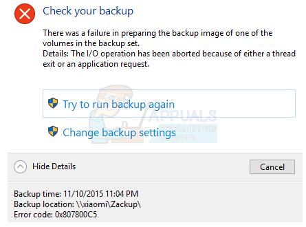 So beheben Sie den Sicherungsfehler 0x807800C5 unter Windows 10