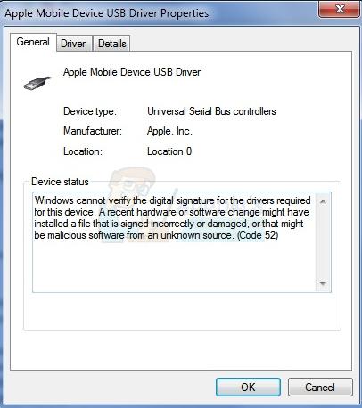 So beheben Sie einen Fehler bei der digitalen Signatur (Code 52) des USB-Fehlers
