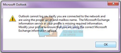 Fix: Outlook kann sich nicht anmelden.  Stellen Sie sicher, dass Sie mit dem Netzwerk verbunden sind und den richtigen Server- und Postfachnamen verwenden