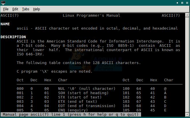 So suchen Sie eine ASCII-Tabelle unter Linux