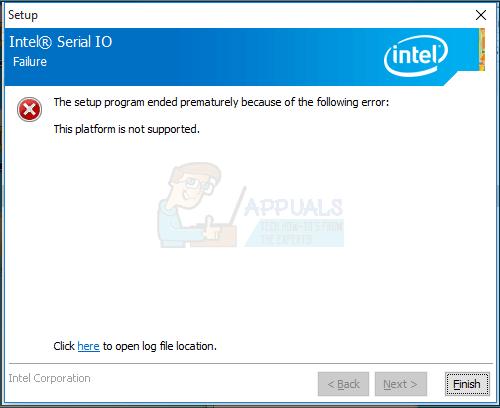 """UPDATE: Fehlermeldung """"Diese Plattform wird nicht unterstützt"""" während der Installation des Intel® Serial IO-Treibers"""