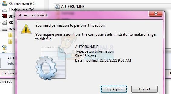 Fix: Zugriff verweigert oder Berechtigungsprobleme mit Autorun.inf