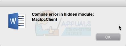 """So beheben Sie den Fehler """"Kompilierungsfehler im versteckten Modul"""" in Word für Mac"""