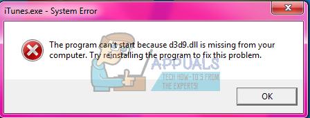 Wie man d3d9.dll behebt fehlt