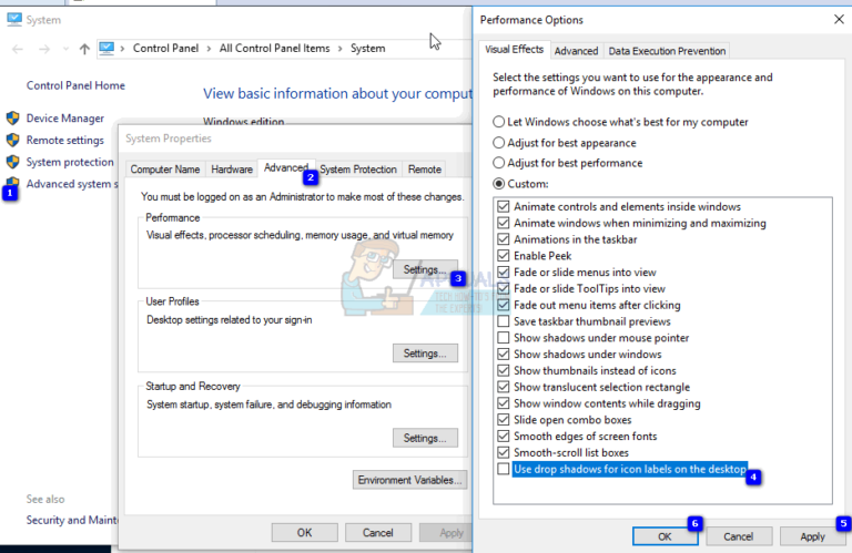 So entfernen Sie Shadow- oder Drop Shadow-Desktop-Symbole unter Windows 10