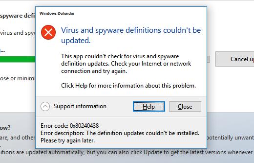 Fix: Windows Defender-Fehler 0x80240438