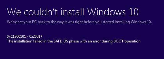 Behebung des Windows 10-Installationsfehlers 0XC1900101 – 0x20017