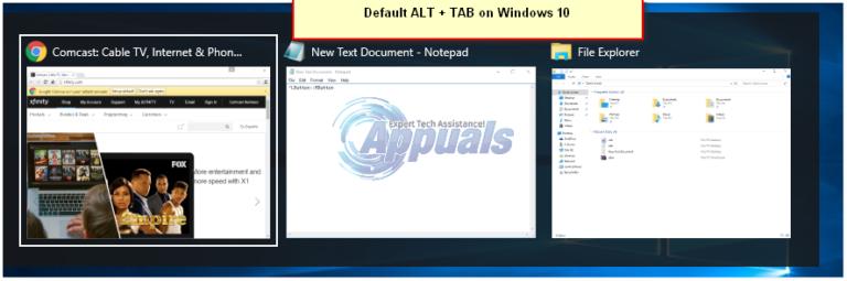 Verwendung von ALT + TAB im alten Windows XP-Stil unter Windows 10