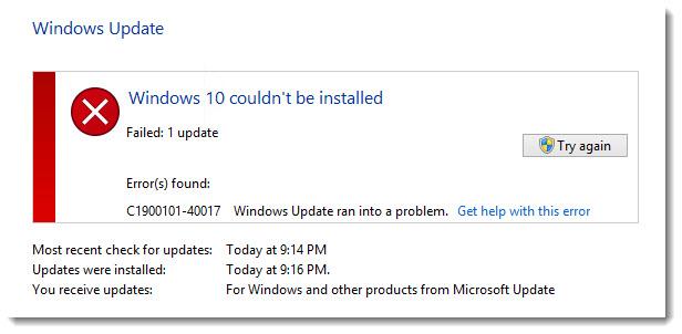 Windows 10 konnte nicht installiert werden Fehler C1900101-40017