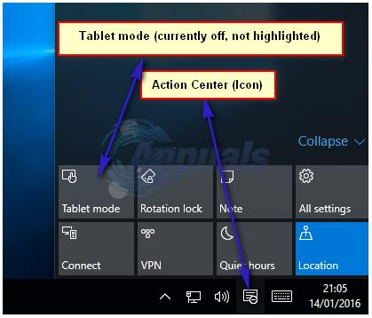So wechseln Sie den Modus Tablet / Desktop In Windows 10