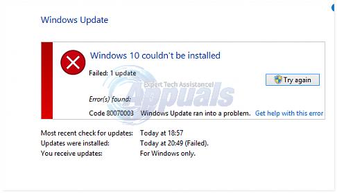 Gelöst: Windows 10 konnte nicht installiert werden Fehler (80070003)