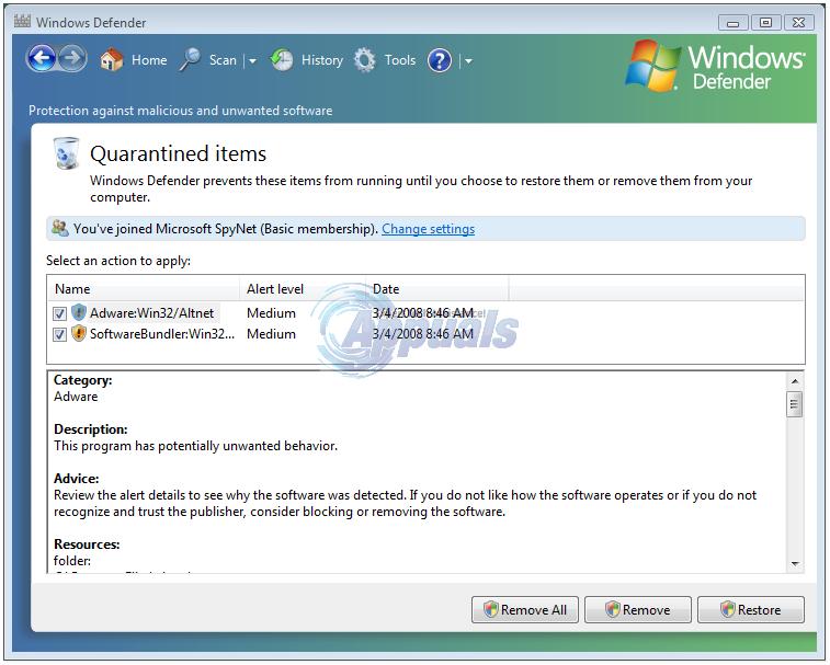 Wiederherstellen eines von Windows Defender entfernten Elements