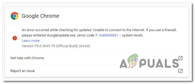 Fix Google Chrome Update-Fehler (Fehlercode – 7: 0x80040801)
