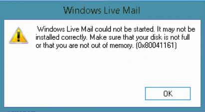 Windows Live Mail-Speicherfehler 0x80041161