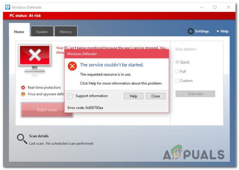 Fix Widows Defender Error 0x800700AA Der Dienst konnte nicht gestartet werden