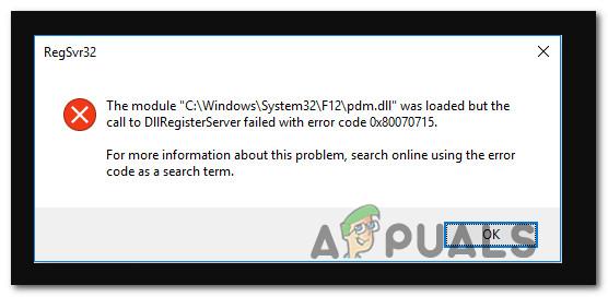 Fix: DLLRegisterserver fehlgeschlagen mit Fehler 0x80070715 unter Windows 10