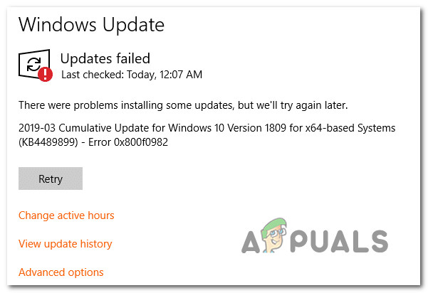 Beheben von Windows 10 Update-Fehler 0X800F0982 (Fix)