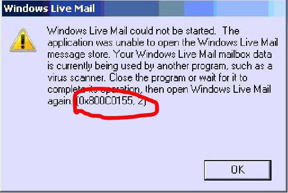 Fix: Windows Live Mail-Fehler 0x800c0155